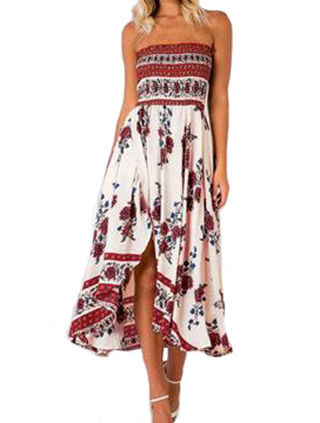 Red Floral Print Strapless One Piece Dress - WealFeel