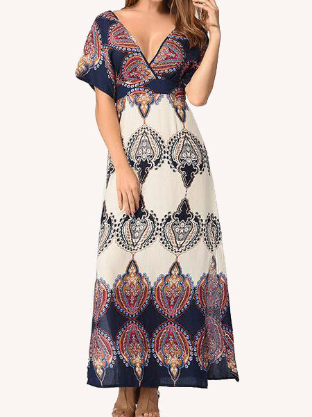 Go With the Low Printed Maxi Dress - WealFeel