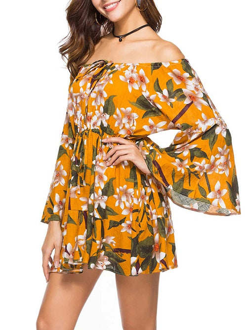 Summer Printing Off Shoulder Dress - WealFeel
