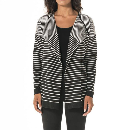 Womens Causal Stripe Front Open Sweater Cardigan Blouse - WealFeel