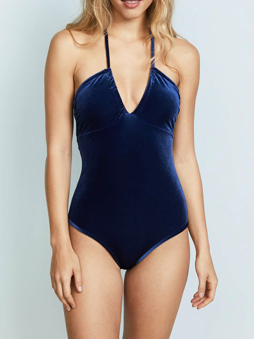Tight Sapphire Pleuche One-piece Bikini - WealFeel