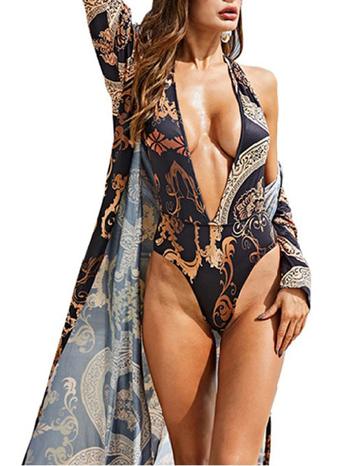 Printed Cloak + One-piece Swimsuit Bikini Suit