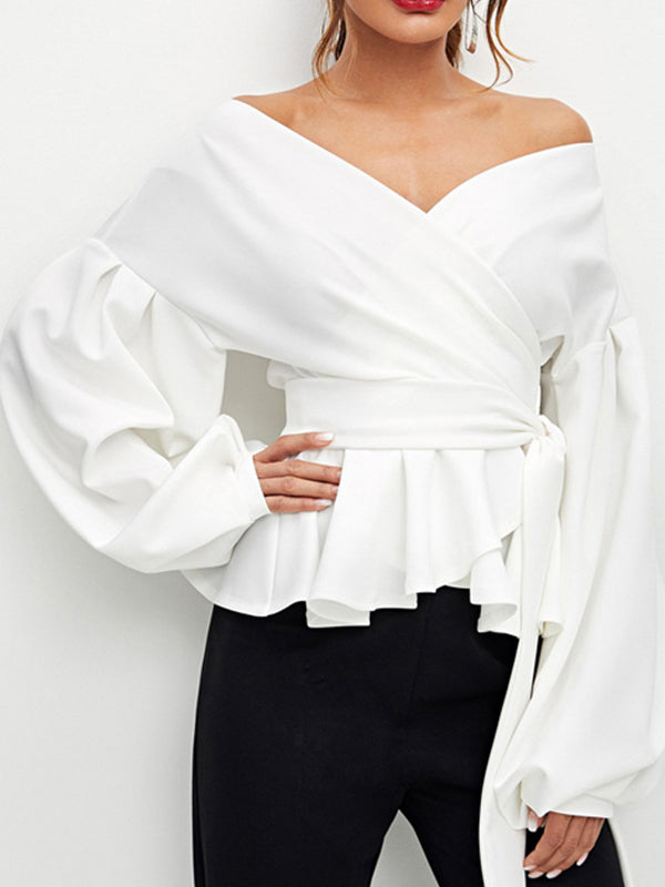 Off Shoulder Lantern Sleeve Shirt - WealFeel