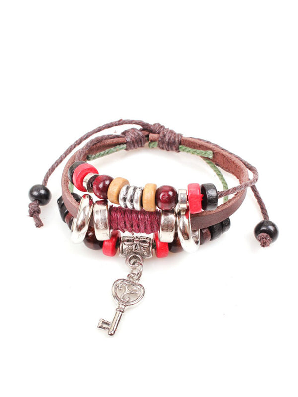WealFeel Open The Door to Happiness Leather Love Key Charm Bracelet - WealFeel