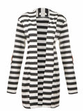 WealFeel Open Front Stripe Cardigan with Elbow Patch - WealFeel