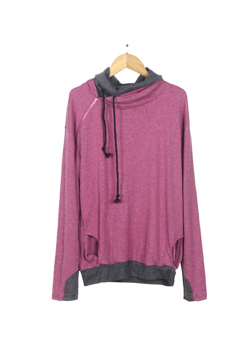 Side Zip Relaxed Hooded Sweatshirt - WealFeel