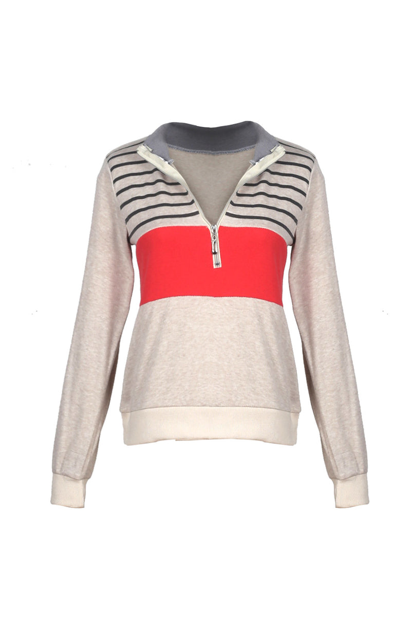 Color Back Girl Striped Zip Top - WealFeel