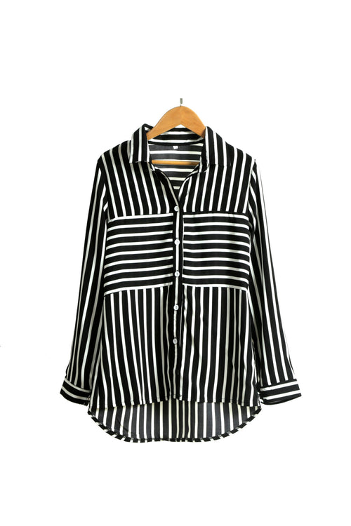 Black Or White Striped Long Sleeved Shirt - WealFeel