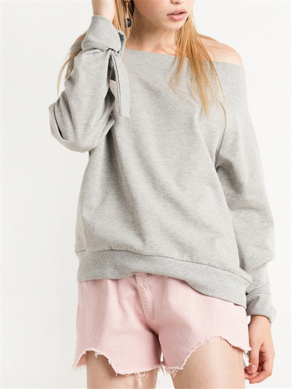 Unique Design Sleeves Off the Shoulder Pullover Sweatshirt - WealFeel