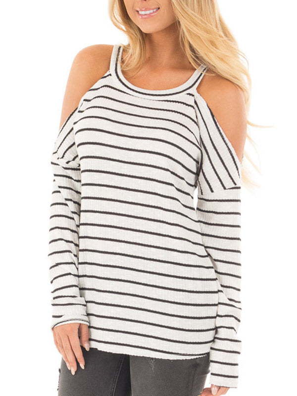 Women Cold Shoulder Stripe Top - WealFeel