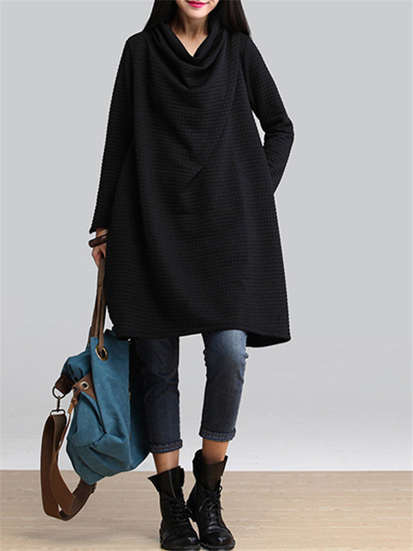 Pure Color High Neck Sweatshirt Dress - WealFeel