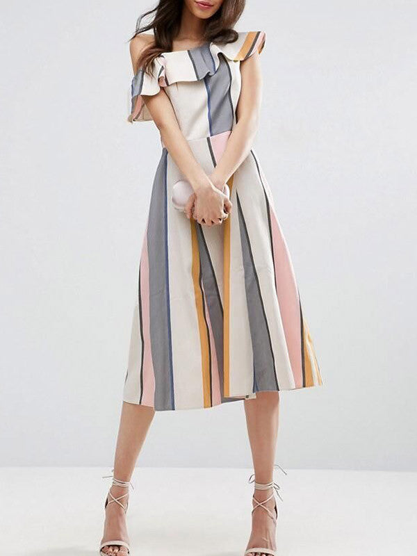 One Shoulder Ruffle Stripe Dress - WealFeel