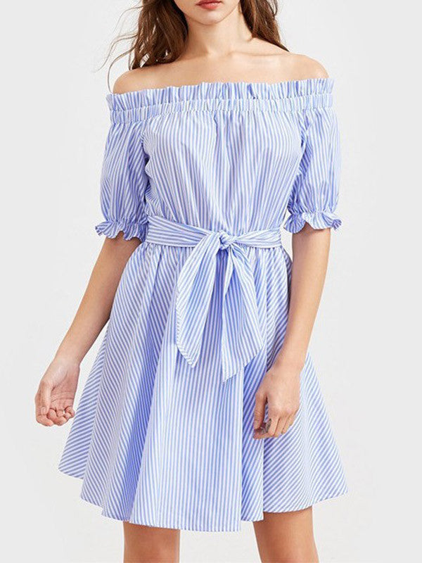 Off-the-Shoulder Half Sleeve Striped Dress - WealFeel