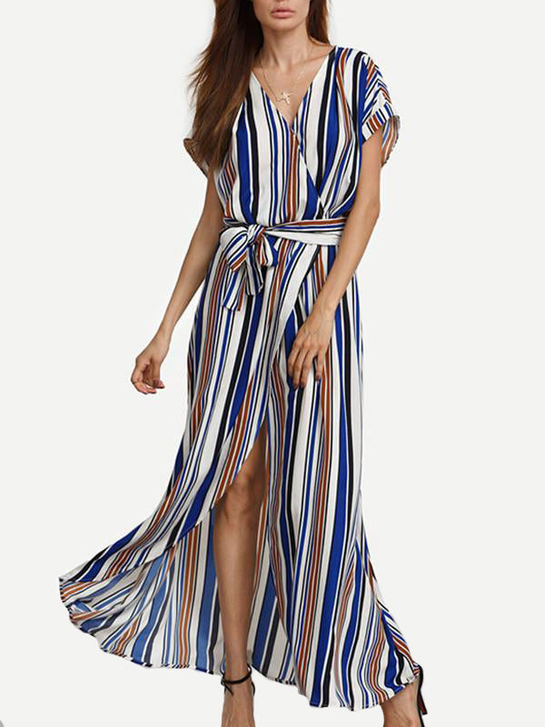Women Stripe Front Slit Maxi Dress - WealFeel