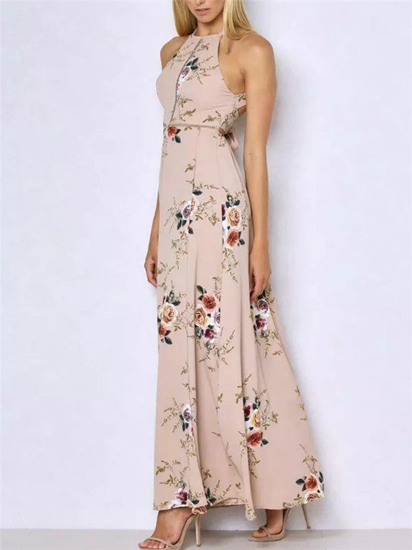 Retro Floral Print Sleeveless Halter Dress - WealFeel