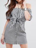 White & Black Lattice Off Shoulder Front Tie Knot Dress - WealFeel