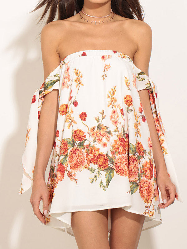 Women Off Shoulder Floral Mini Dress - WealFeel