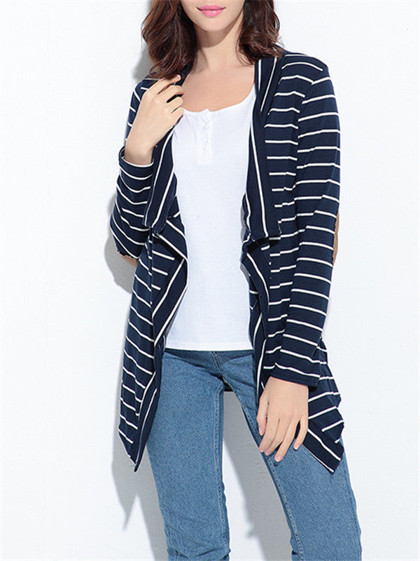 Striped Cardigan Top With PU Elbow Patch - WealFeel
