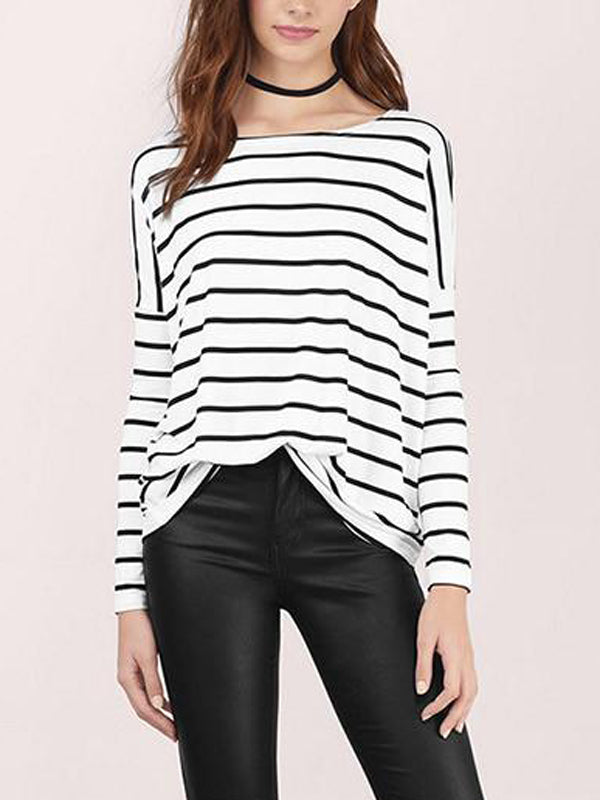 Women Long Sleeve Stripe Casual Top - WealFeel