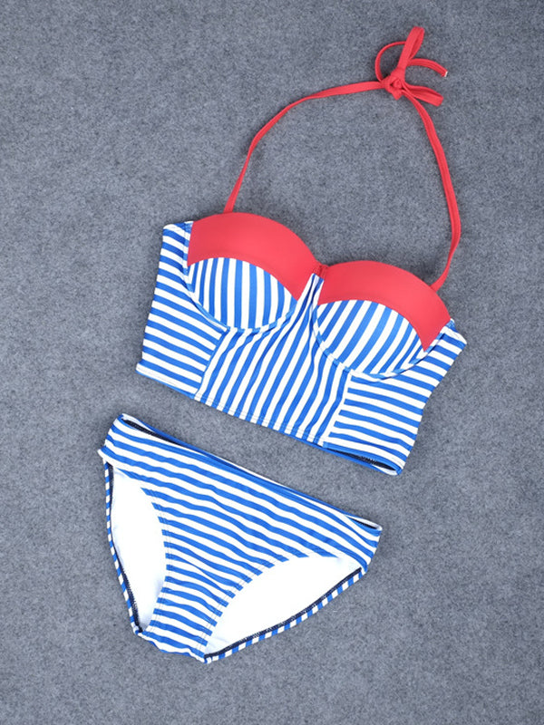 Blue&White Stripe Swimsuit - WealFeel