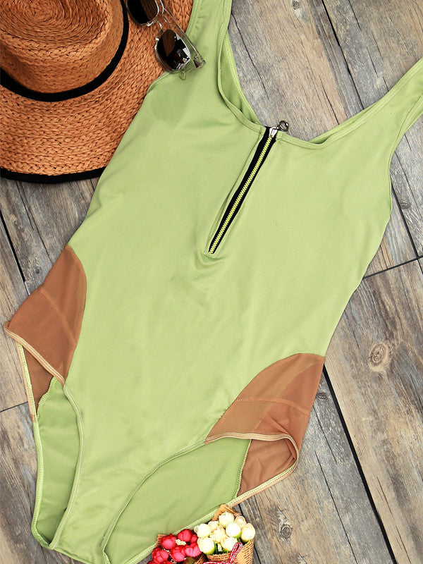 Zip Up Front Plus Size One-piece Swimsuit - WealFeel