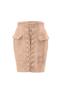 Faux Suede Lace-up Mini Skirt - WealFeel