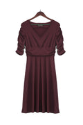 WealFeel  Solid color Deep V-neck Large Swing Dress - WealFeel