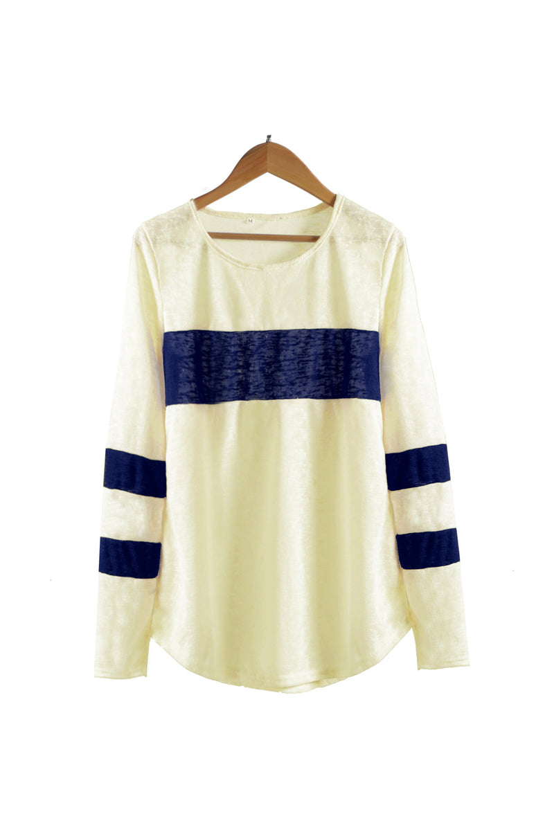 Striped Round Neck Relaxed Top - WealFeel