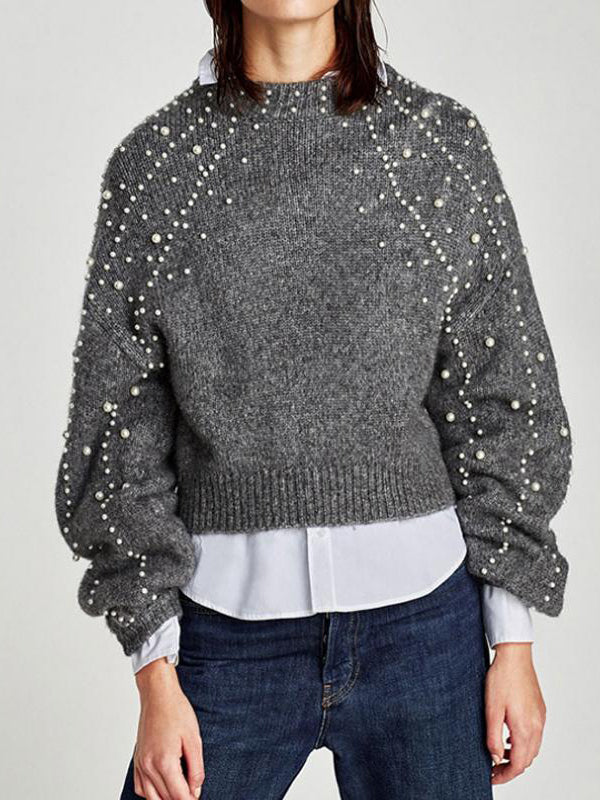 Women Fashion Pearl Long-sleeved Sweater - WealFeel