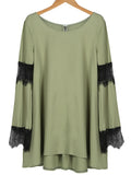 Army Green Lace Bell Sleeve Dress - WealFeel