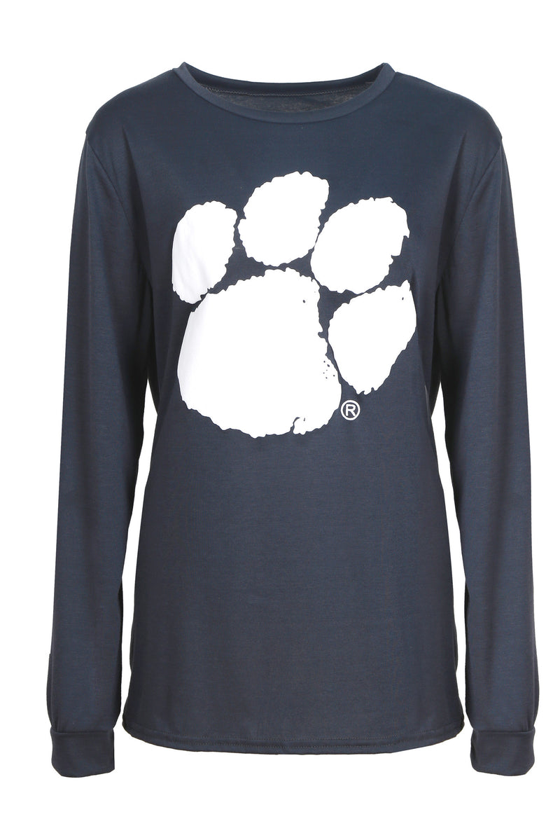 Paw Print Loose Long Sleeve Shirt - WealFeel