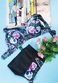 Vintage Floral Print High-Wasited Bikini Sets - WealFeel