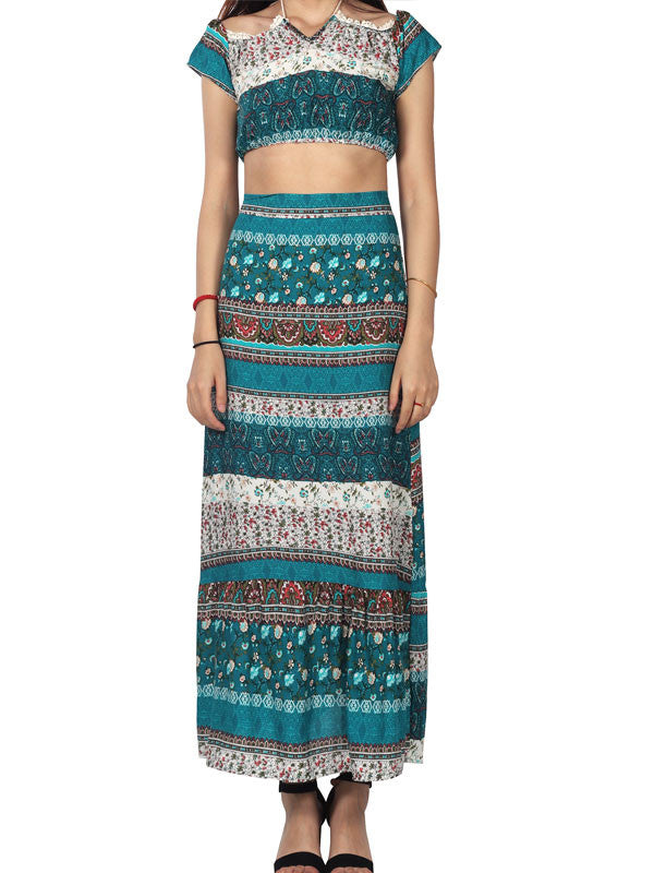 Bohemian Off Shoulder Irregular Maxi Dress Two Piece Set - WealFeel