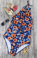 Yellow Flower Blue One Piece Swimsuit - WealFeel