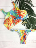 Graffiti High Neck Tank Push Up Bikini Sets - WealFeel