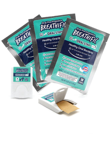 Breathific Pre + Probiotic Oral Strips for Dry Mouth Relief and Fresh Breath
