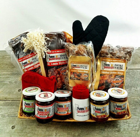BBQ Ribs & BBQ Chicken Wings Gift Basket - FunniBonz BBQ