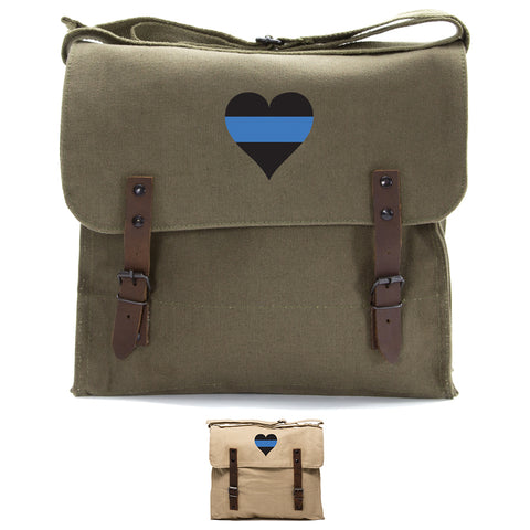 Thin Blue Line Heart - Police Policemen Army Heavyweight Canvas Medic Shoulder Bag