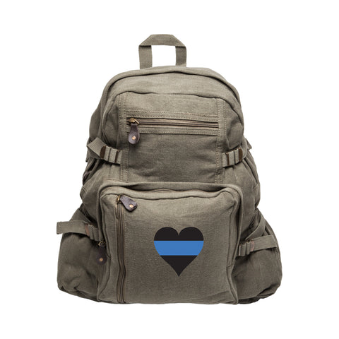 Thin Blue Line Heart Police Army Heavyweight Canvas Backpack Bag