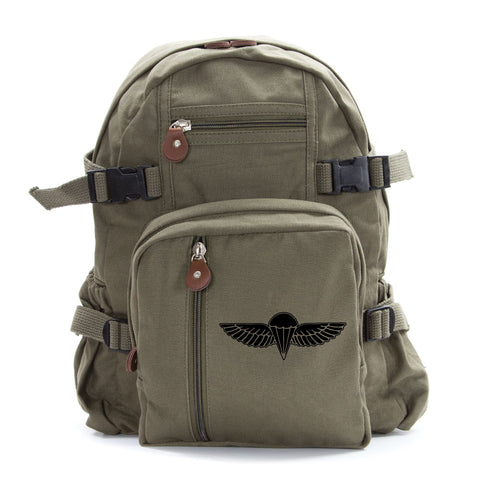 IDF ISRAELI ARMY Paratrooper Wings BADGE Zahal Heavyweight Canvas Backpack Bag