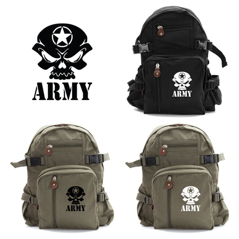 US Army Skull Sport Heavyweight Canvas Backpack Bag