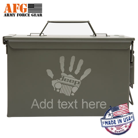 Metal Ammo Can High Five Jeep with Custom Engraving