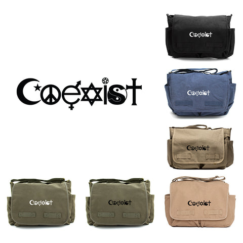 Coexist Army Heavyweight Canvas Messenger Shoulder Bag