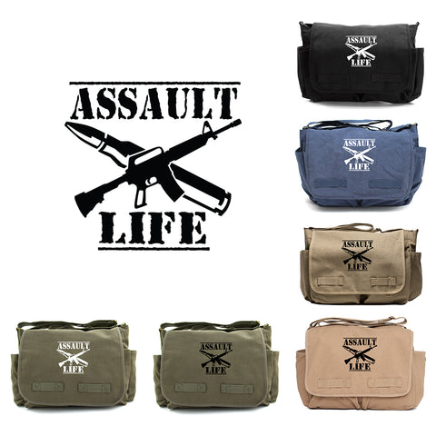 Assault Life Ak47 M16 M4 Army Heavyweight Canvas Messenger Shoulder Bag