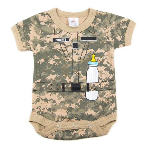 Soldier with Baby Bottle Short Sleeve Baby Bodysuit