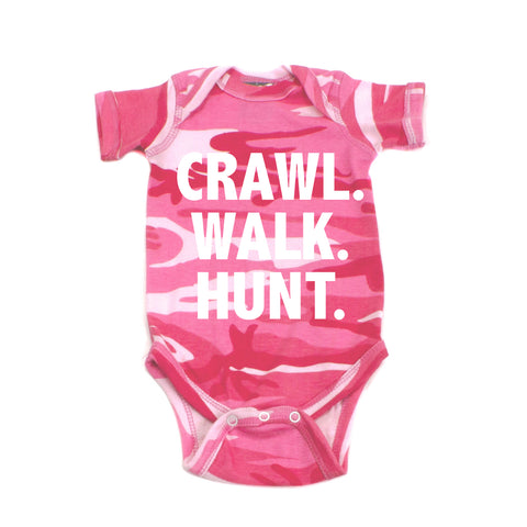 Crawl Walk Hunt Short Sleeve Baby Bodysuit