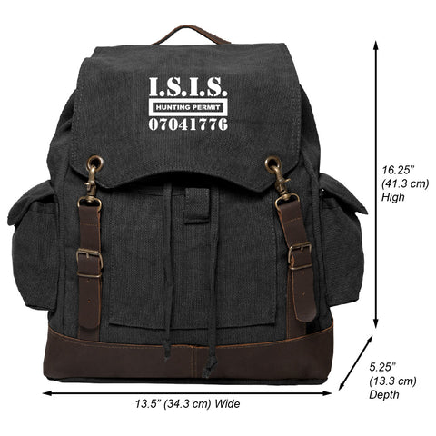 ISIS Hunting Permit Vintage Canvas Rucksack Backpack with Leather Straps