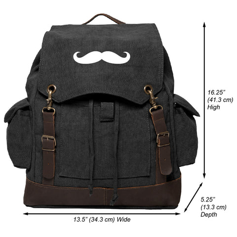 Mustache Vintage Canvas Rucksack Backpack with Leather Straps, Black & Wh