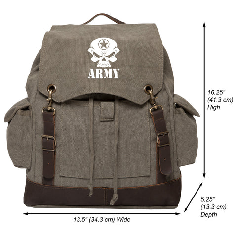 US Army Skull Vintage Canvas Rucksack Backpack with Leather Straps