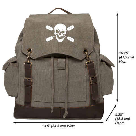 Deadly Kayaker Paddle Vintage Canvas Rucksack Backpack with Leather Straps